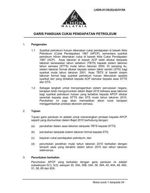 Garis Panduan Cukai Pendapatan Petroleum Lembaga Hasil Dalam
