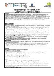 Det personlige lederskab, del 1 Lederskab og kommunikation - ucf.dk