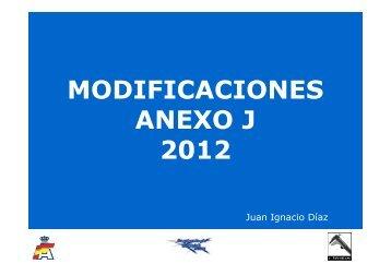MODIFICACIONES ANEXO J 2012
