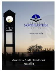 Academic Staff Handbook 07-08 - Arkansas Northeastern College