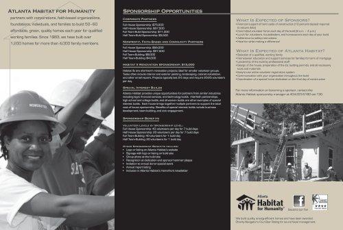 Download the Sponsorship Brochure - Atlanta Habitat for Humanity