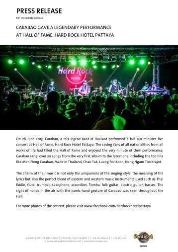 Carabao gave a legendary performance at Hall of Fame - Hard Rock ...