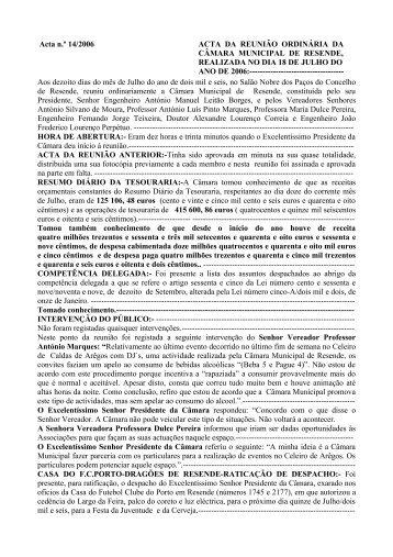 Acta n.º 14 - Câmara Municipal de Resende