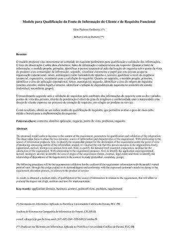 Modelo para Qualificação da Fonte de Informação do Cliente ... - WER