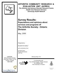 Survey Results: - Arthritis Community Research Evaluation Unit ...