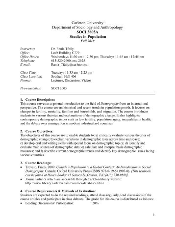 Department of Sociology and Anthropology - Www3.carleton.ca ...