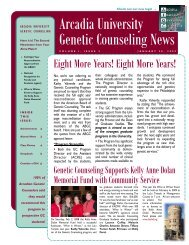 Arcadia University Genetic Counseling News