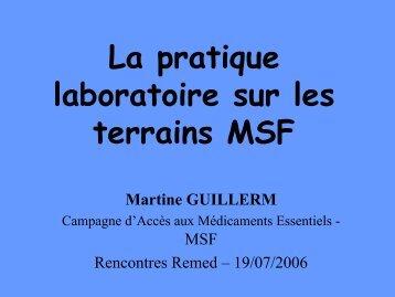 La pratique laboratoire sur les terrains MSF - ReMeD