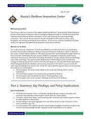 Russia's Skolkovo Innovation Center - Foreign Military Studies Office