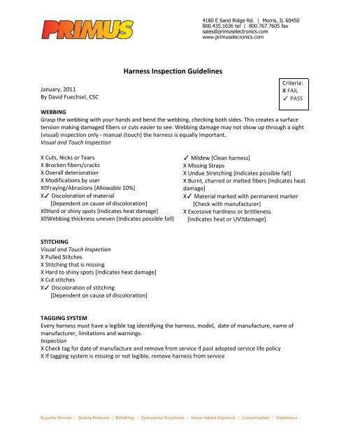 1Q11 Harness Inspection Guidelines - Primus Electronics Corporation
