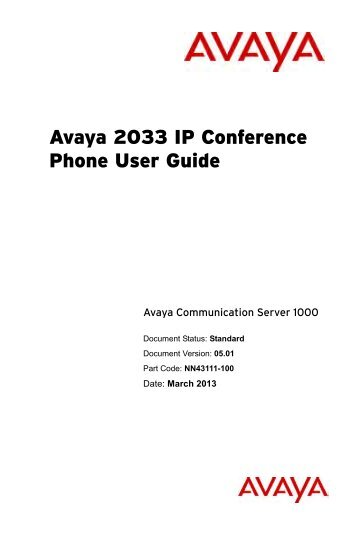 IP Audio Conference Phone 2033 User Guide - Avaya Support