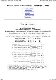 Cologne Falcons vs Braunschweig Lions (Aug ... - NewYorker Lions
