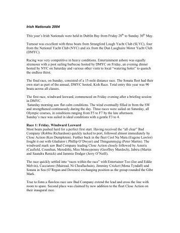 Irish Nationals 2004 report (pdf 20k) - Sonata Sailing