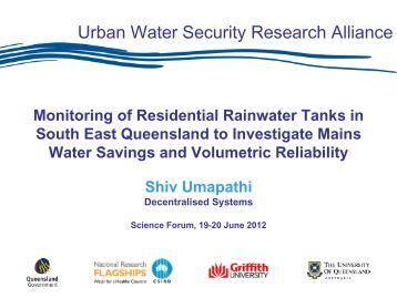 Monitoring of Residential Rainwater Tanks in South East Queensland ...