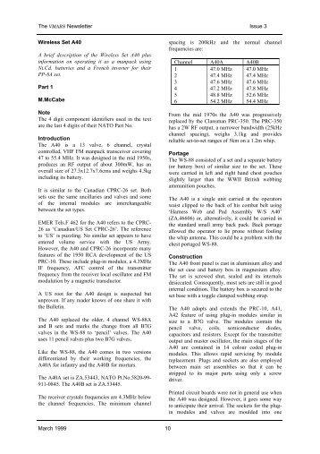 Wireless Set A40 Part 1 - VMARSmanuals