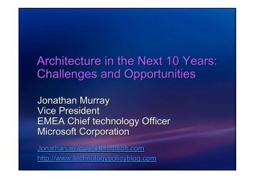 Architecture in the Next 10 Years: Challenges and Opportunities