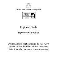 Regional Finals Supervisor's Booklet Please ensure that students do ...