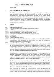 RÈGLEMENTS 1. PROCÉDURE APPLICATION D'AFFILIATION Si ...