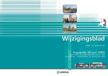 wijzigingsblad 28 juni 2009 - Arriva