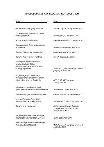 INHOUDSOPGAVE KNIPSELKRANT SEPTEMBER 2011 ... - Wetsus