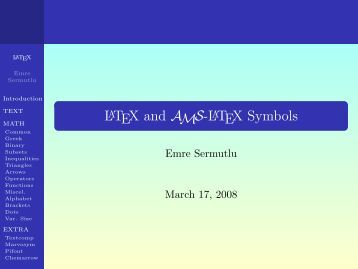 A Short List of the Standard LaTeX Symbols