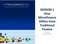 SESSION 1 How Microfinance Differs from Traditional Finance