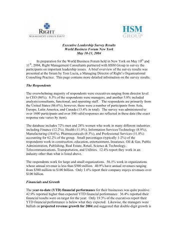 Executive Leadership Survey Results World Business Forum New ...