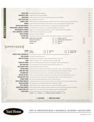 Food Menu - Yard House Restaurants