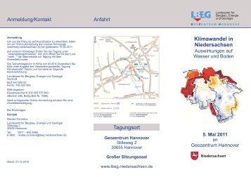 Klimawandel in Niedersachsen Tagungsort - KLIFF