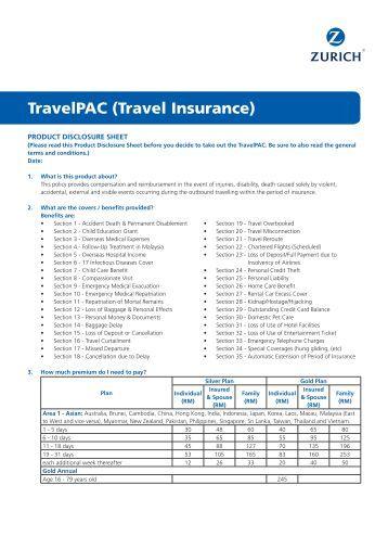 Zurich Travel Insurance Policy