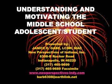 Understanding and motivating the middle school - Youth Connections