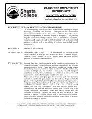classified employment opportunity maintenance ... - Shasta College