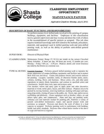 Shasta College Tehama Campus Map.Classified Employment Opportunity Shasta College