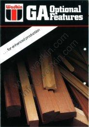 Wadkin GA Planer Moulder Optional Features Literature