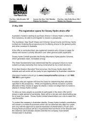 21 May 2006 – Pre-registration opens for Snowy Hydro share offer