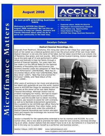 August 2008 Newsletter - ACCION San Diego