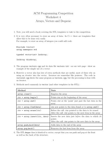 ACM Programming Competition Worksheet 4 Arrays, Vectors and ...