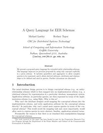 A Query Language for EER Schemas - Michael Lawley