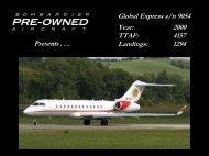 Global Express s/n 9054 Year: 2000 TTAF: 4157 ... - Bombardier