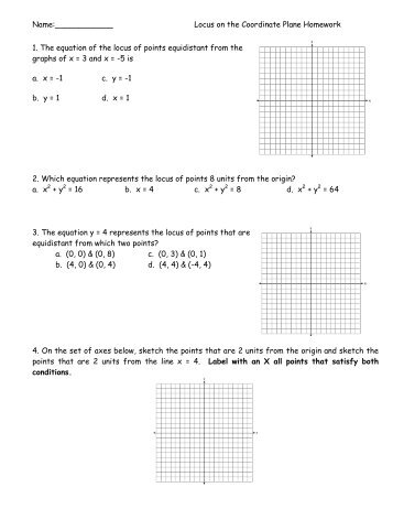 Loci on the Coordinate Plane Homework