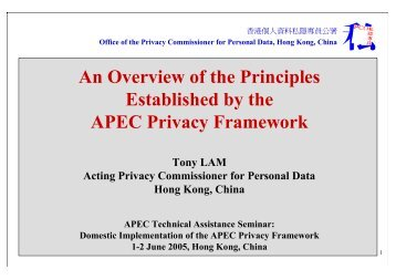 An Overview of the Principles Established by the APEC Privacy ...