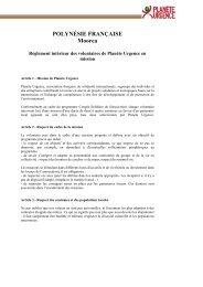 Règlement intérieur des volontaires de Planète Urgence en mission