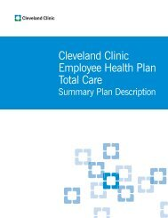 Cleveland Clinic Employee Health Plan Total Care Benefits