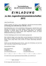 Tennisabteilung des SV Vorwärts Nordhorn EINLADUNG zu den ...