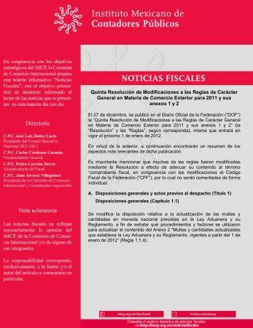 Quinta Resolución de Modificaciones a las Reglas de Carácter ...