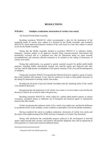 RESOLUTIONS - World Health Organization