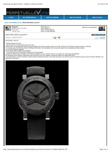 Perpetuelle.com Watch Forums - Watches in ... - Black Belt Watch