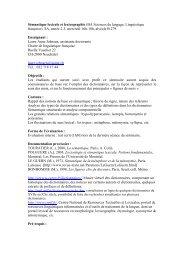(BA Sciences du langage, Linguistique française), SA, année 2-3 ...