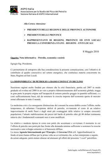 Lettera ai presidenti di Regioni e Province italiane - ASPO Italia