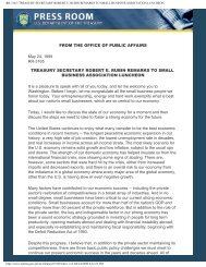 rr-3165: treasury secretary robert e. rubin remarks to small business ...